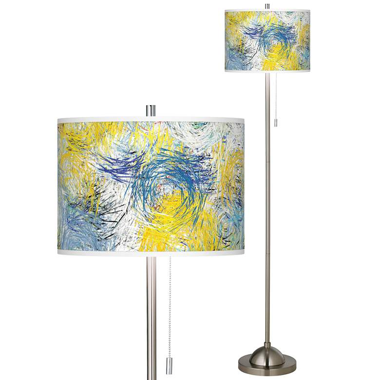 Starry Dawn Brushed Nickel Pull Chain Floor Lamp