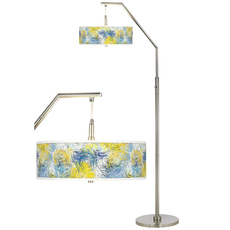 Starry Dawn Giclee Shade Arc Floor Lamp