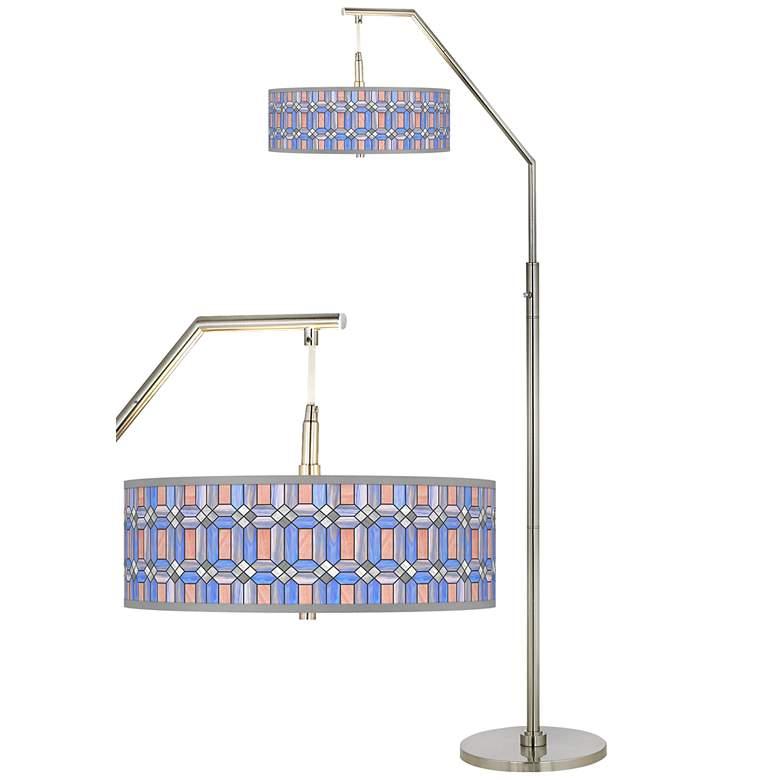 Asscher Tiffany-Style Giclee Shade Arc Floor Lamp