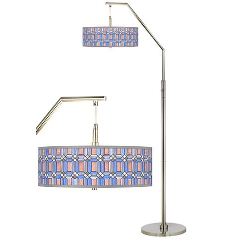 Asscher Tiffany-Style Giclee Shade Arc Floor Lamp