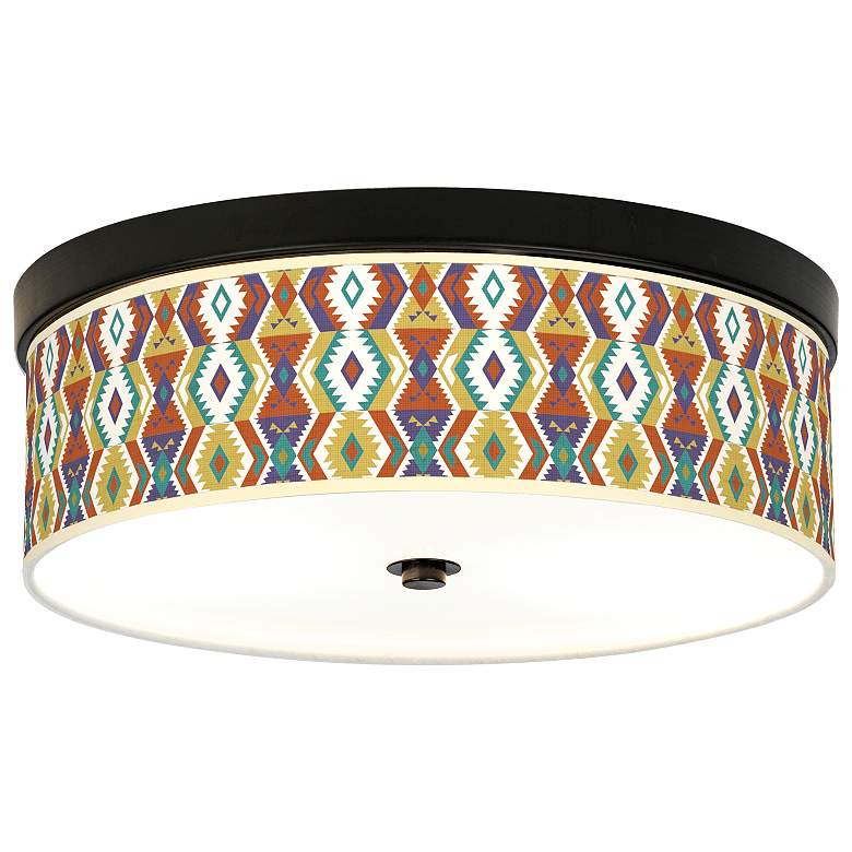 Southwest Giclee Energy Efficient Bronze Ceiling Light