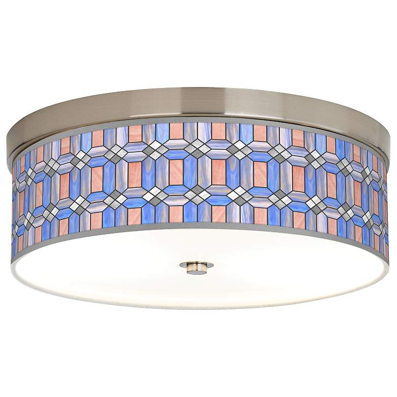 Asscher Tiffany-Style Giclee Energy Efficient Ceiling Light