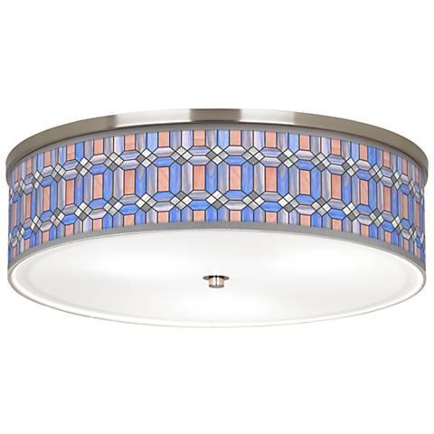 "Asscher Tiffany-Style Giclee Nickel 20 1/4""W Ceiling Light"
