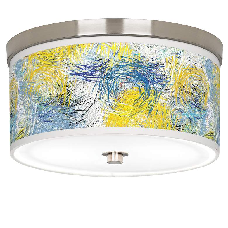 "Starry Dawn Giclee Nickel 10 1/4"" Wide Ceiling Light"