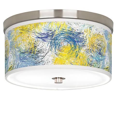 """Starry Dawn Giclee Nickel 10 1/4"""" Wide Ceiling Light"""
