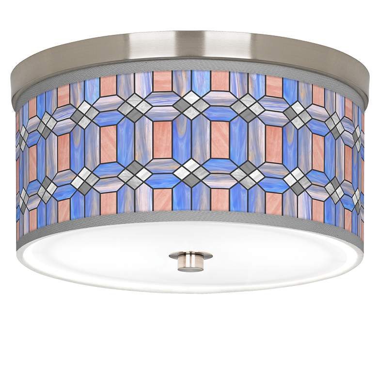 "Asscher Tiffany-Style Giclee Nickel 10 1/4""W Ceiling Light"