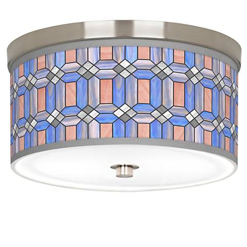 "Asscher Tiffany-Style Giclee Nickel 10 1/4""W Ceiling Light"