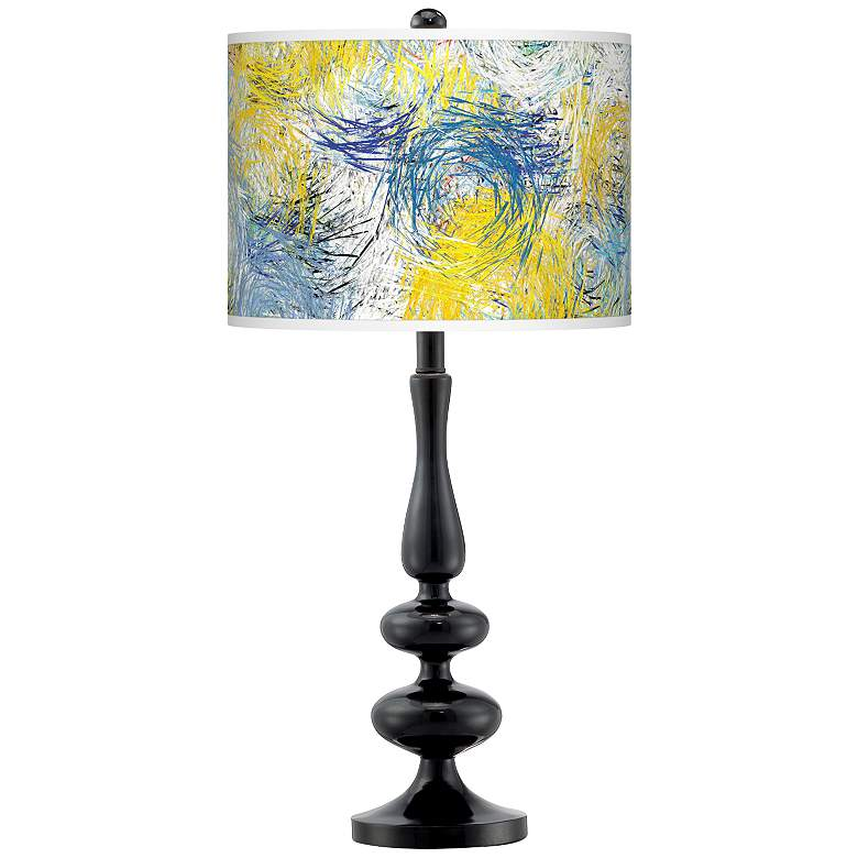 Starry Dawn Giclee Paley Black Table Lamp