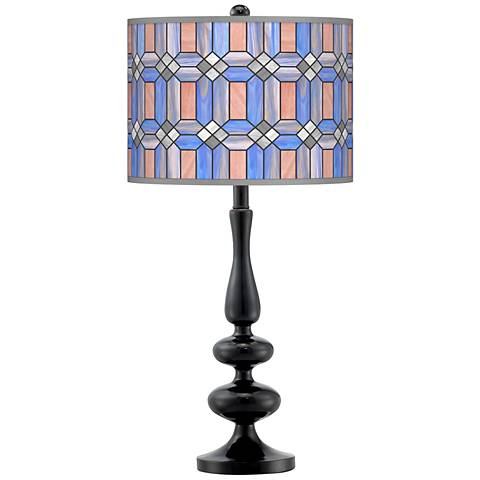 Asscher Tiffany-Style Giclee Paley Black Table Lamp