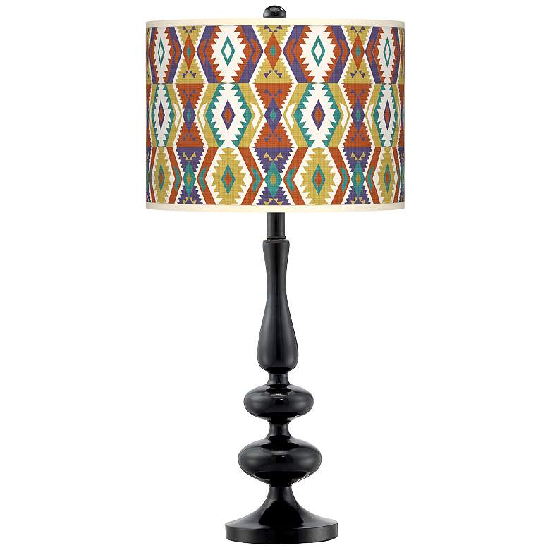 Southwest Bohemian Giclee Paley Black Table Lamp