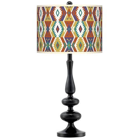 Southwest Bohemian Giclee Paley Black Table Lamp