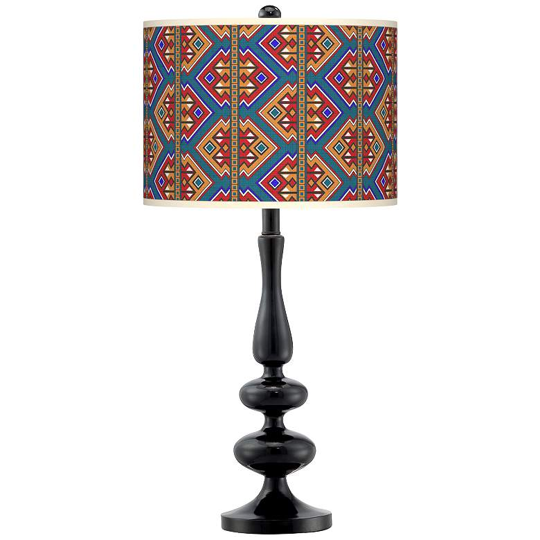 Rich Bohemian Giclee Paley Black Table Lamp