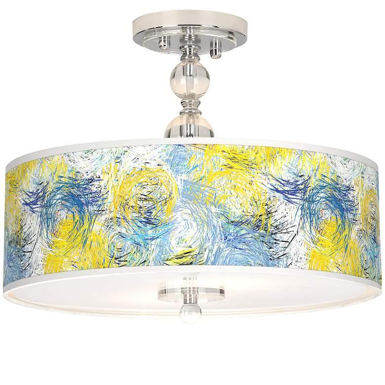 "Starry Dawn Giclee 16"" Wide Semi-Flush Ceiling Light"