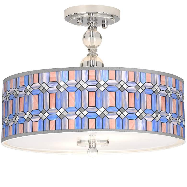 "Asscher Tiffany-Style Giclee 16""W Semi-Flush Ceiling Light"