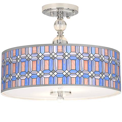 "Asscher Tiffany-Style Giclee 16""W Semi-Flush Ceiling Light"