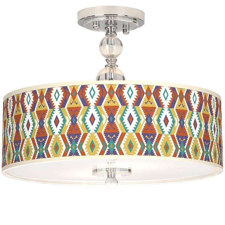 """Southwest Bohemian Giclee 16"""" Wide Semi-Flush Ceiling Light"""