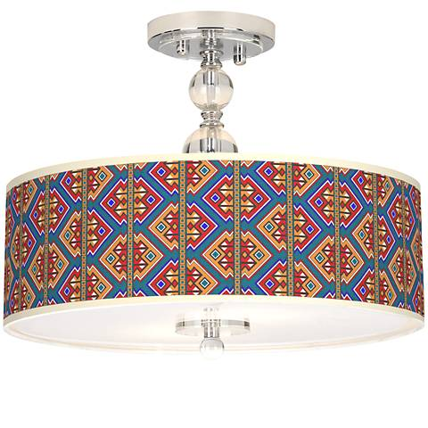 "Rich Bohemian Giclee 16"" Wide Semi-Flush Ceiling Light"