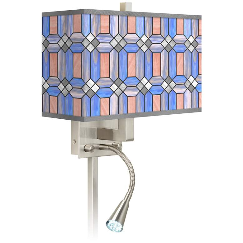 Asscher Tiffany-Style LED Reading Light Plug-In Sconce