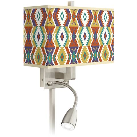 Southwest Bohemian Giclee Glow LED Reading Light Plug-In Sconce