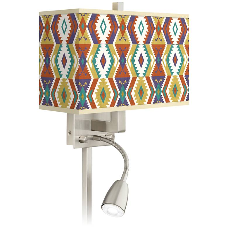 Southwest Bohemian Giclee Glow LED Reading Light Plug-In Sconce