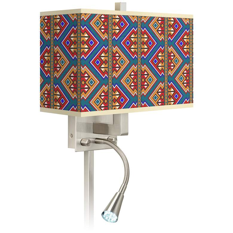 Rich Bohemian Giclee Glow LED Reading Light Plug-In Sconce