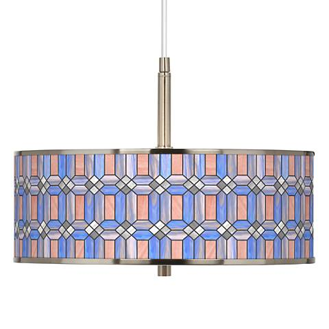 "Asscher Tiffany-Style Giclee Glow 16"" Wide Pendant Light"