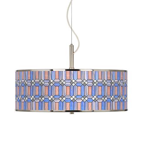 "Asscher Tiffany-Style Giclee Glow 20"" Wide Pendant Light"