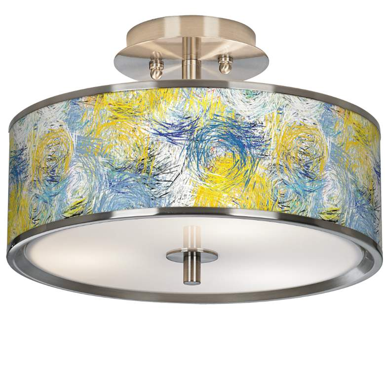 """Starry Dawn Giclee Glow 14"""" Wide Ceiling Light"""