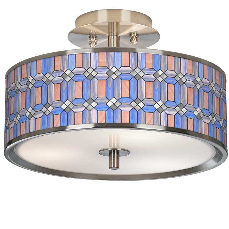 """Asscher Tiffany-Style Giclee Glow 14"""" Wide Ceiling Light"""