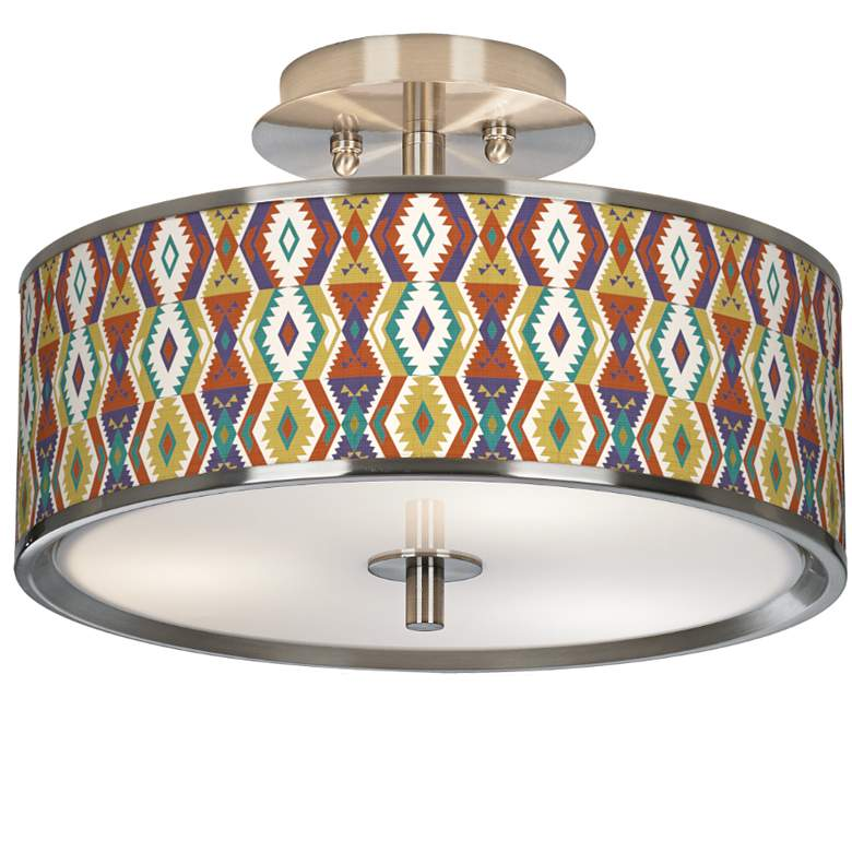"Southwest Giclee Glow 14"" Wide Ceiling Light"