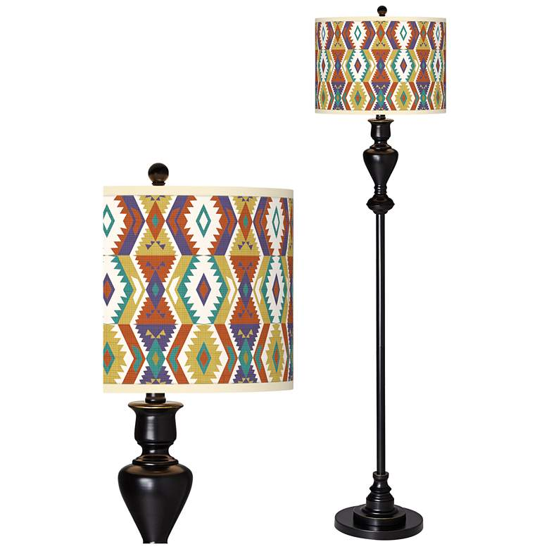 Southwest Giclee Glow Black Bronze Floor Lamp