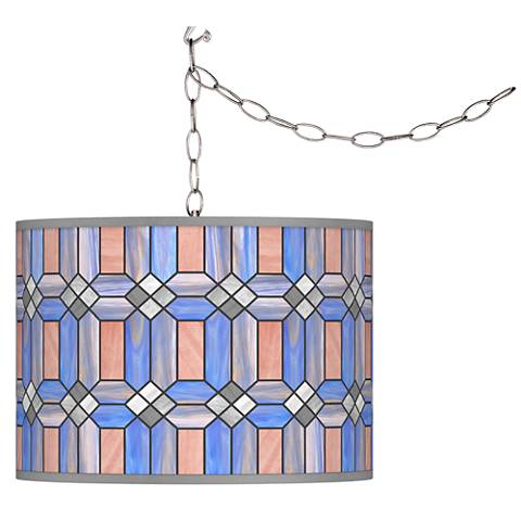 Asscher Tiffany-Style Giclee Glow Plug-In Swag Pendant