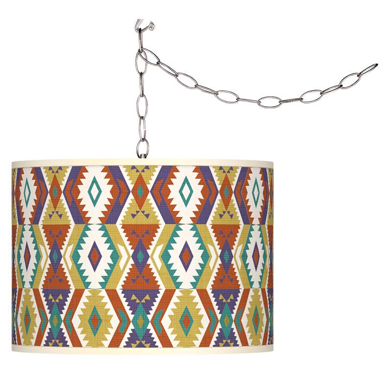 Southwest Bohemian Giclee Glow Plug-In Swag Pendant