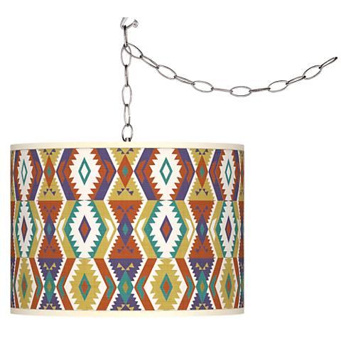 Southwest Bohemian Giclee Glow Plug-In Swag Pendant