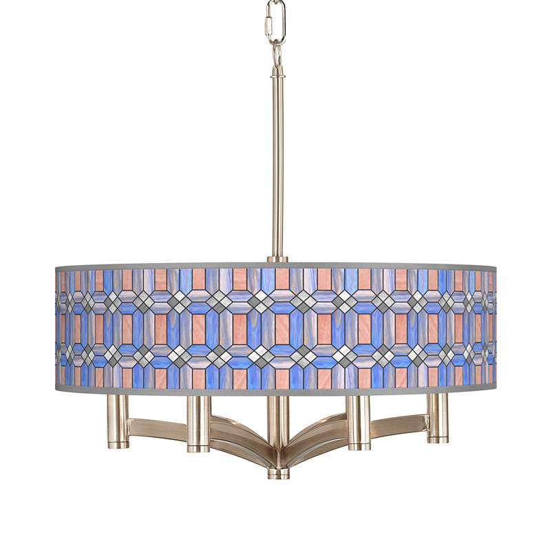 Asscher Tiffany-Style Ava 6-Light Nickel Pendant Chandelier