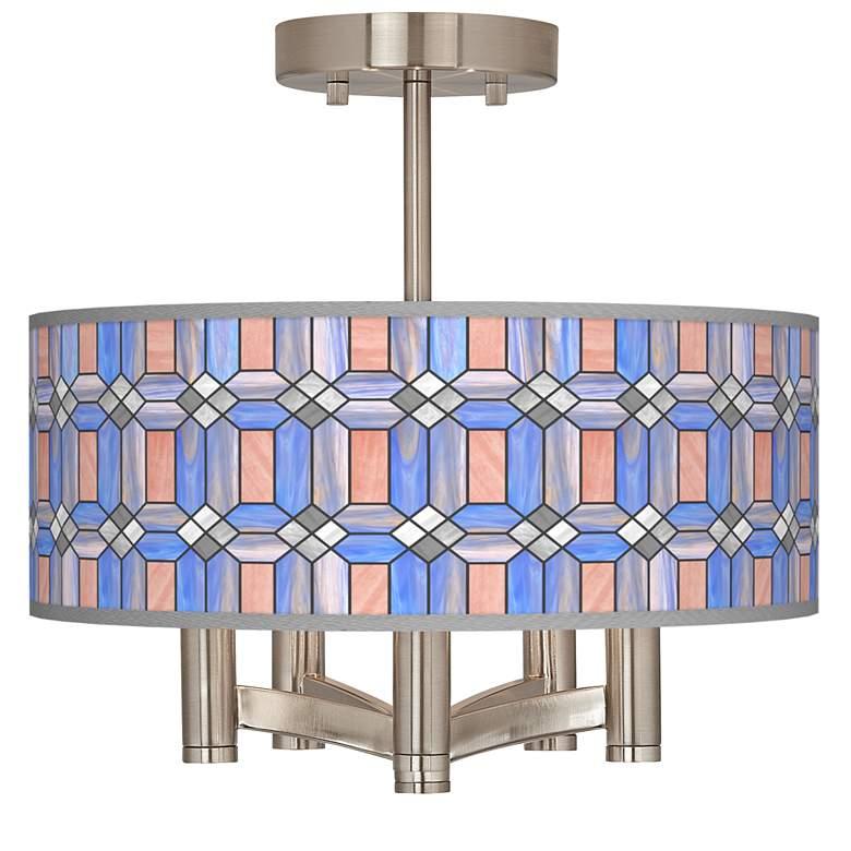Asscher Tiffany-Style Ava 5-Light Nickel Ceiling Light