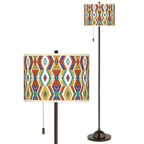Southwest Bohemian Giclee Glow Bronze Club Floor Lamp