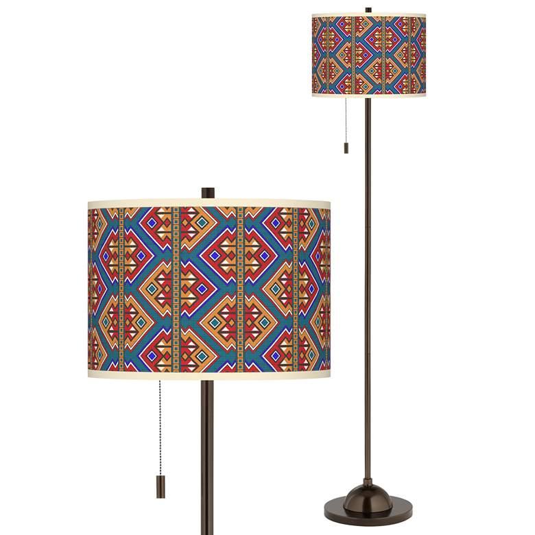 Rich Bohemian Giclee Glow Bronze Club Floor Lamp