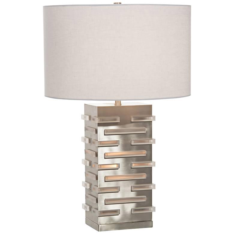 John Richard Acrylic Block Illuminating Nickel Table Lamp