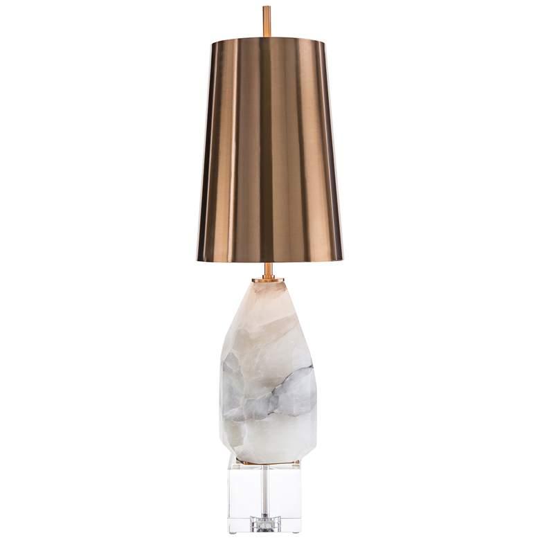 John Richard White Multifaceted Alabaster Table Lamp