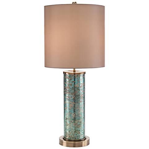 John Richard Green Emerald Brass Column Table Lamp