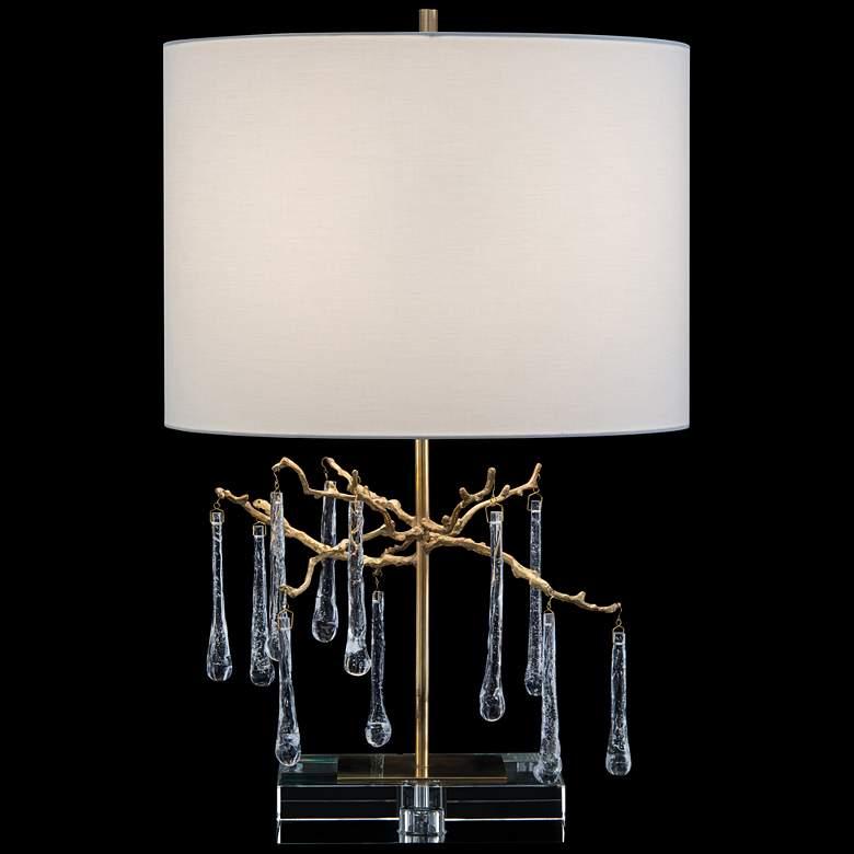John Richard Honey Brass Branched Crystal Table Lamp