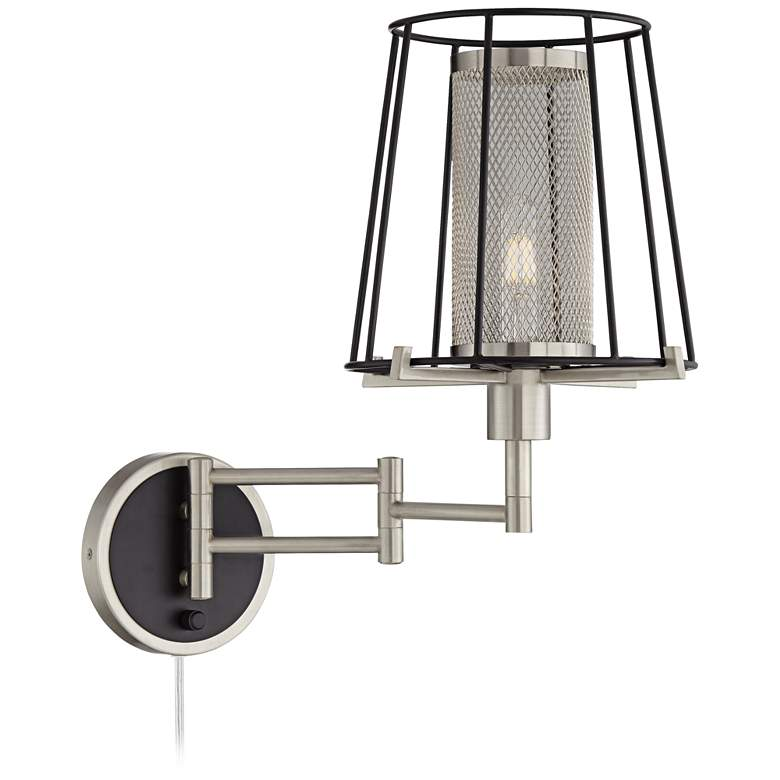 Eli Brushed Nickel and Matte Black Cage Swing Arm Wall Lamp