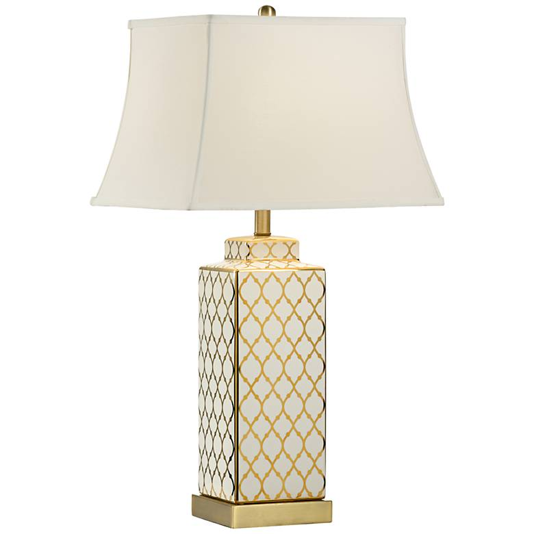 Wildwood Alley Gold and White Table Lamp with USB Port