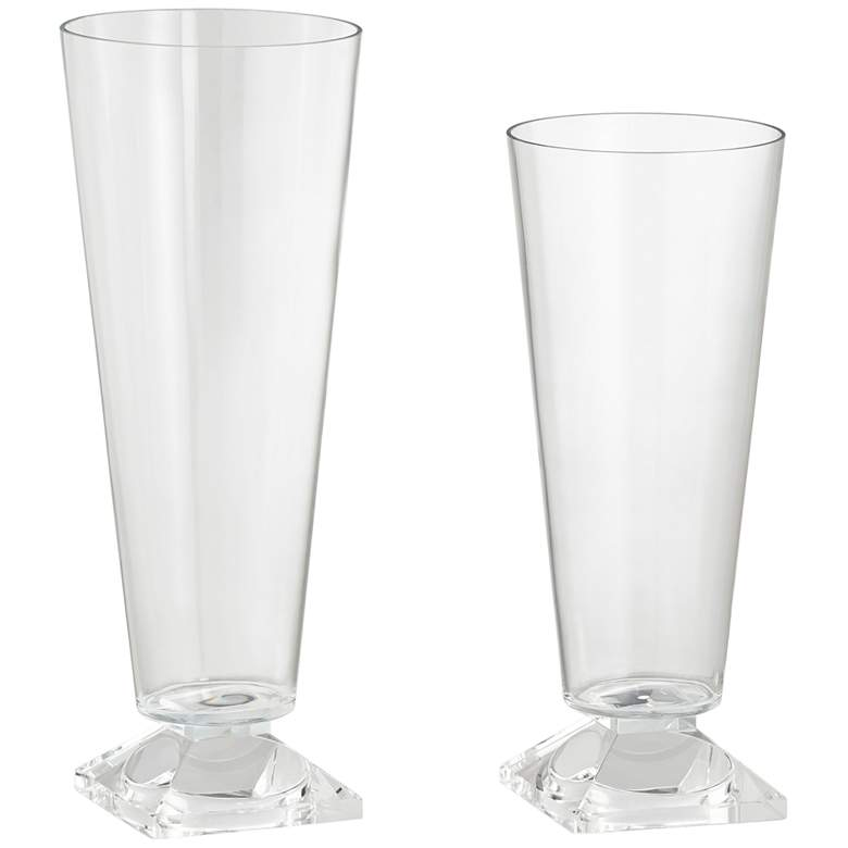 Clear Glass Decorative Candle Holders or Vases - Set of 2