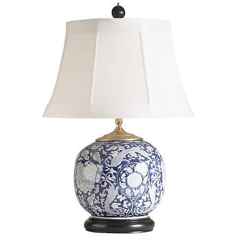 Wildwood Scrimshaw Blue and White Porcelain Table Lamp