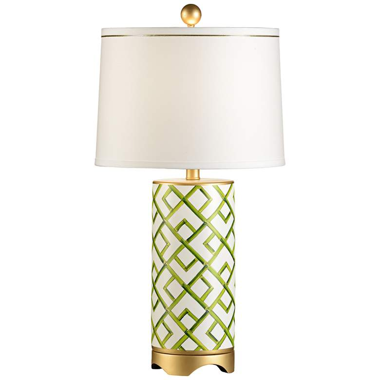 Wildwood Bamboo Squares Hand-Painted Porcelain Table Lamp
