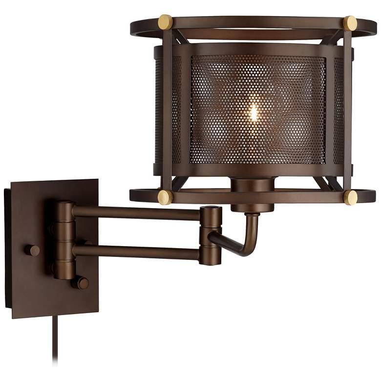 Mason Oil-Rubbed Bronze Mesh Swing Arm Wall Lamp
