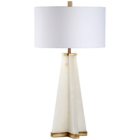 Wildwood Alabaster Pyramid Cream Table Lamp