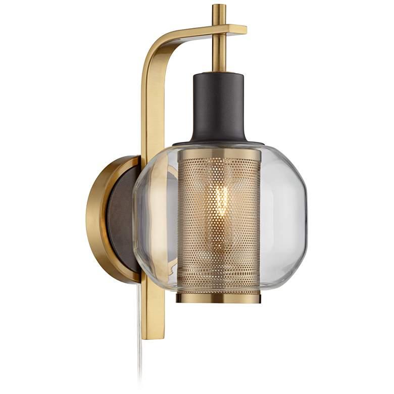 Possini Euro Winslow Gold and Gunmetal Plug-In LED Wall Lamp